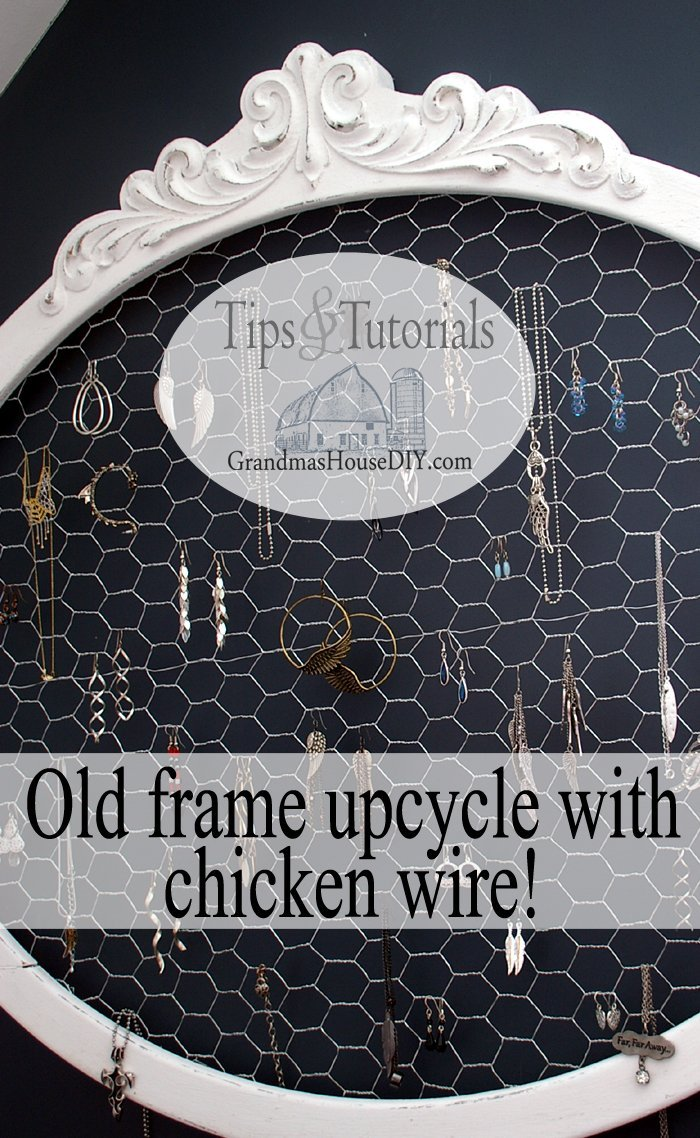 Upcycle old antique frame with paint, glue, clamps and chicken wire to make a shabby country chic jewelry earrings hanger