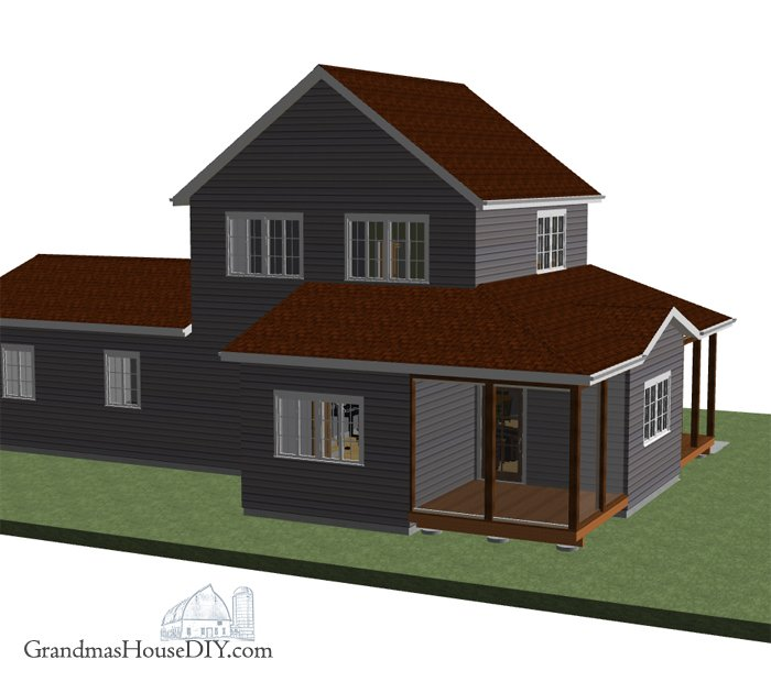 Small cottage, free house plan with a master suite that has its own floor and screened in porch