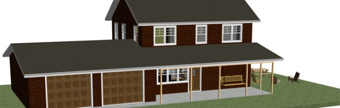 A two story stately country home with a true country kitchen, a covered front porch swing and attached garage. Free house plans and floor plan.