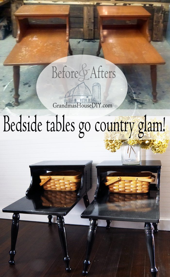 country bedside tables get a glamorous makeover for our master!