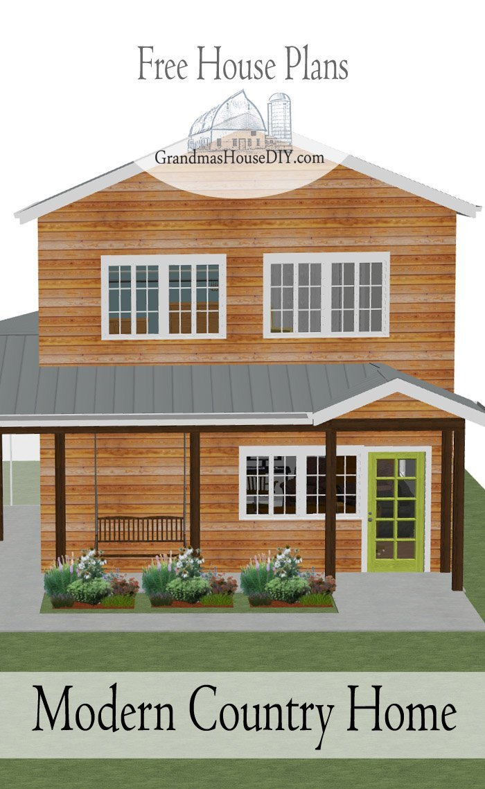 Free house plan modern country home grandmas house diy for Modern country house