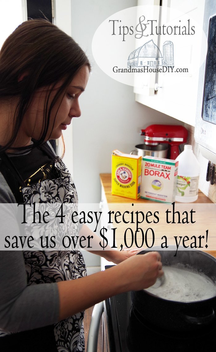 The 4 household homemade DIY cleaning recipes that are saving us over $1,000 per year! So easy to make and better for us and the environment!