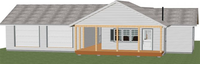 A sweet little cottage that utilizes its 1,100 square foot one story design to create an open layout with plenty of storage and a big country kitchen!
