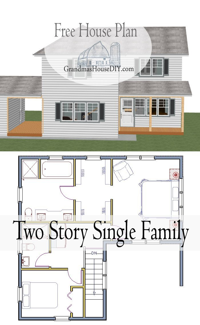 Free house plan of a single family, two story country home with a fantastic master bedroom, lots of storage and an open floor plan