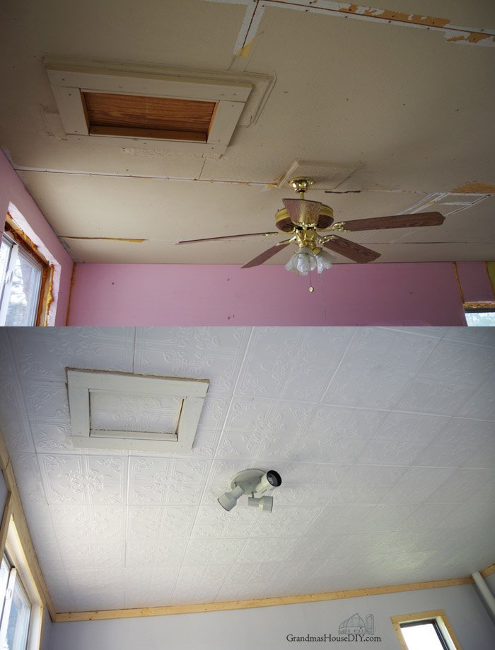 Easy to install Styrofoam do it yourself ceiling tiles over an ugly ceiling, how to