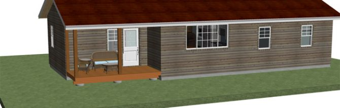 Free house plan of a 1,000 square foot small cabin home with two bedrooms and two bathrooms and an enormous living space with a huge country kitchen.
