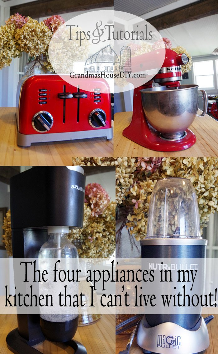 My favorite kitchen appliances, kitchen aide mixer, sodastream, four slice toaster and my magic bullet have all made my life better!