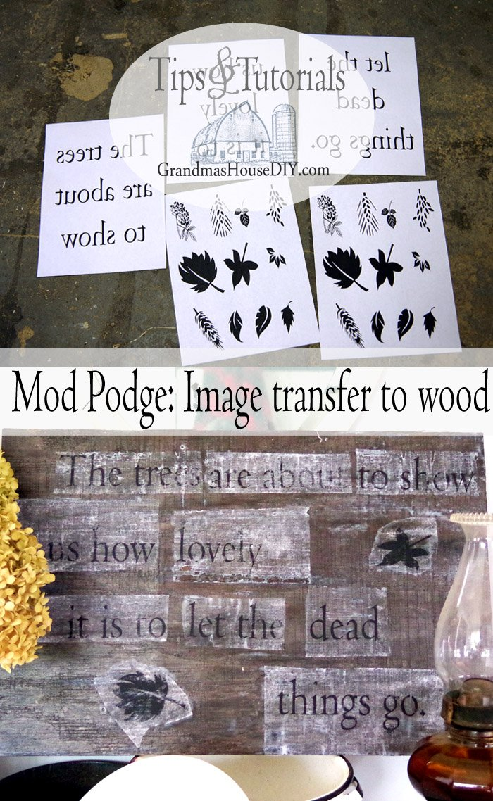 How to use mod podge to transfer a laser jet printed image on to wood. The trees are about to show us how lovely it is to let the dead things go.