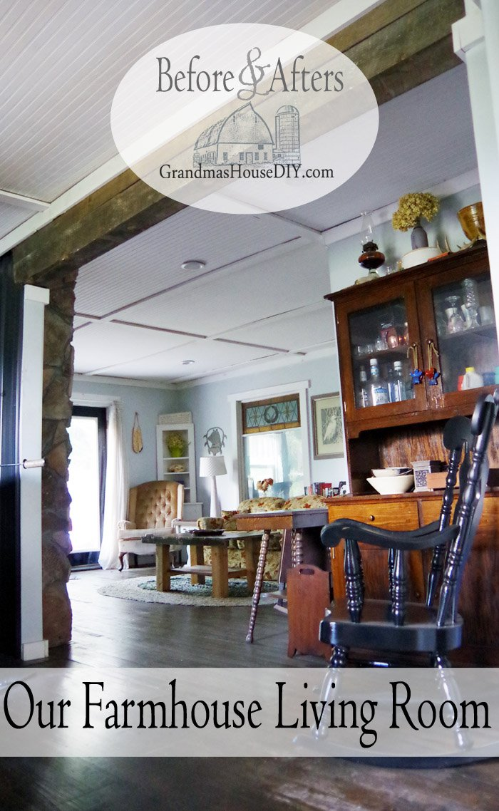 Our farmhouse living room reveal Grandma's, country chic, thrift stores and refinished hand me down furniture pieces make for a cozy and comfortable space!