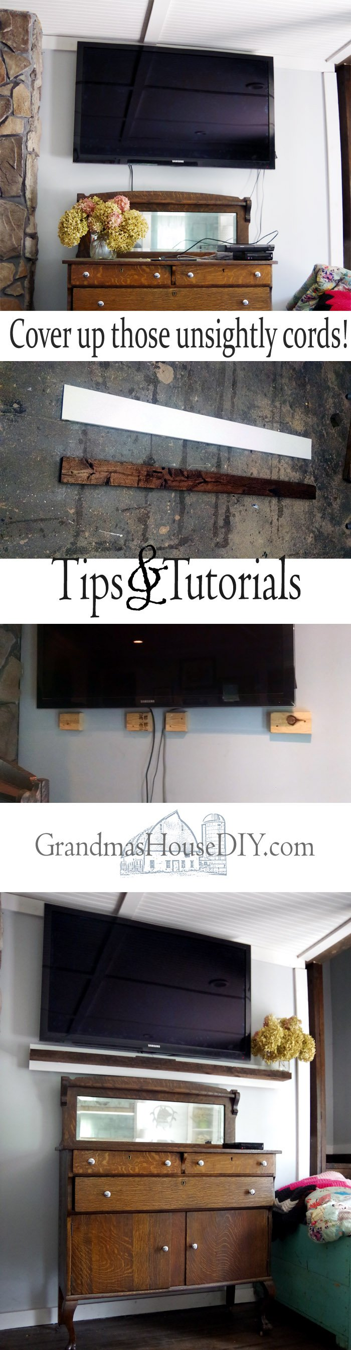 How to build a faux mantel floating shelf beneath your tv television to hide those unsightly cords and provide a shelf for some pretty storage!