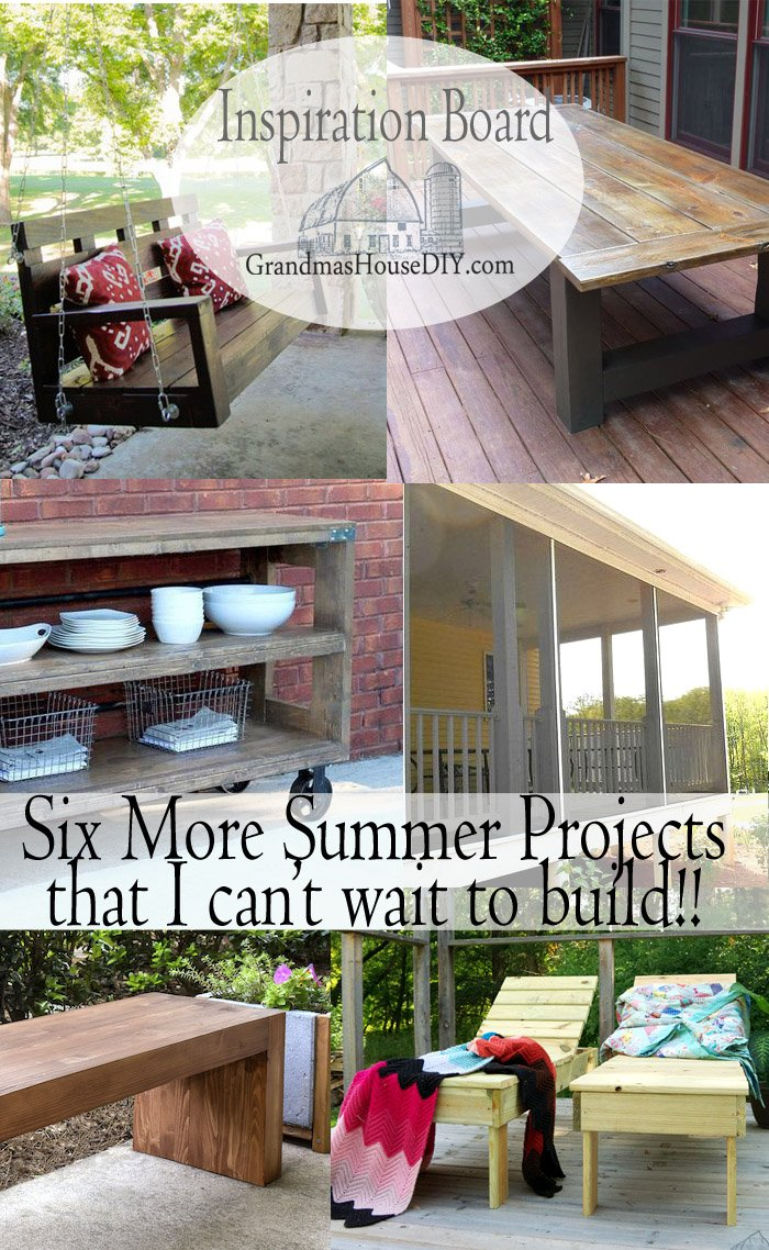 Need more summer projects for next summer? Table, buffet, porch, screened in porches, bench, swing, all for your outside patio or deck or fire pit!