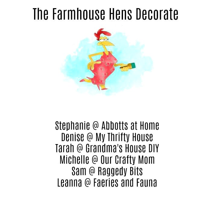 Announcing a fun collaboration of several bloggers called Farmhouse Hens Decorate! Fall Vignette, Kitchen Project, Homemade Christmas Ornament, Wall Art