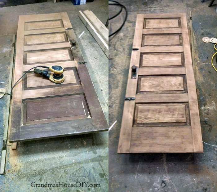 How to refinish a 100 year old door by sanding down and restaining on one side and painting it out with two coats of gloss rustoleum black paint on the other side. Reusing, recycling, solid wood antique door with old brass knob for my new guest bedroom and library.
