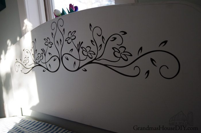 Using a wall decal and some flat gray paint come see how an old, green steel bed frame became a country girl's dream, DIY, painted furniture before and afters, farmhouse decor, farmgirl, farmhouse dream guest bedroom and library