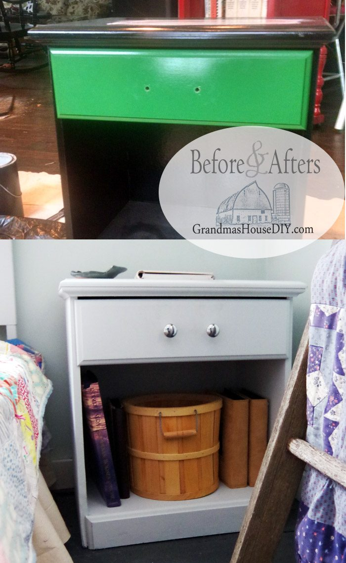 A little black and green end table gets a grown up country girl farm house chic style makeover with matte gray paint, shiny chrome knobs and a lovely farmhouse look for my new guest bedroom and library!