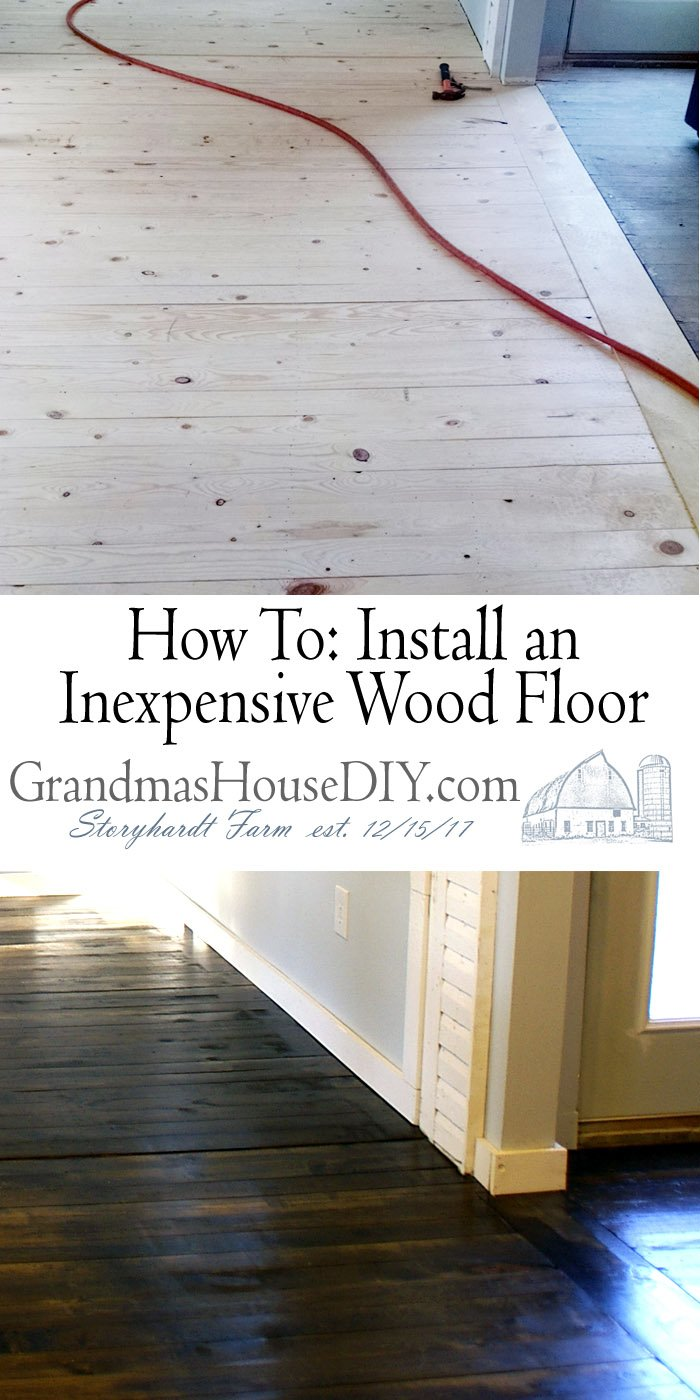 How to install an inexpensive wood floor at Grandmas house diy. Tips and tutorials to lay down a pine floor for under $300, wood working do it yourself. Pine 1x4 floor stained with dark walnut by minwax, easy to lay down yourself and looks beautiful!