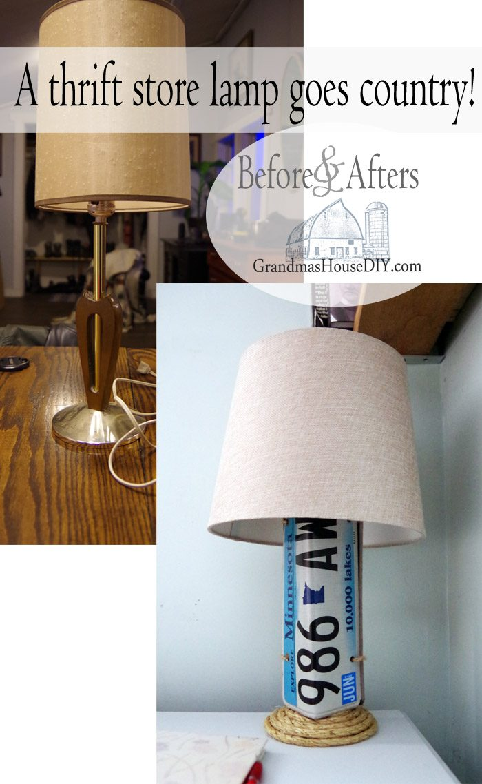 Using my old license plates on my first car I made a base for a dingy old thrift store lamp giving it a full on country girl makeover. Before and afters, with a new drop cloth shade I purchased from walmart this is a transformation you have to see to believe!