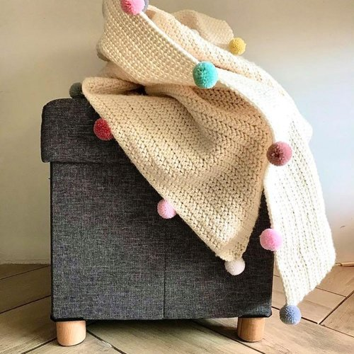 Blanket with PomPons