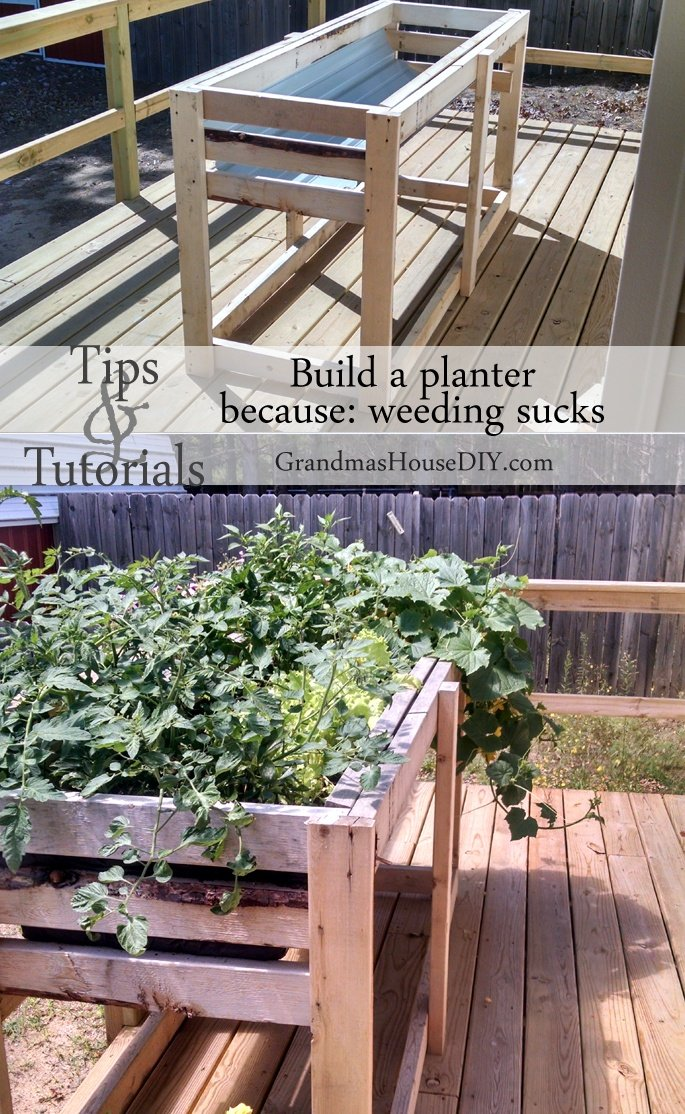 How to build a counter height garden planter for easy weeding and watering @GrandmasHousDIY