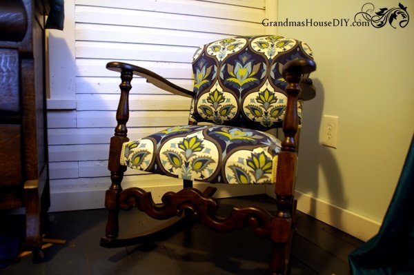 Rocking chair upholstery and refinish before and after @GrandmasHousDIY