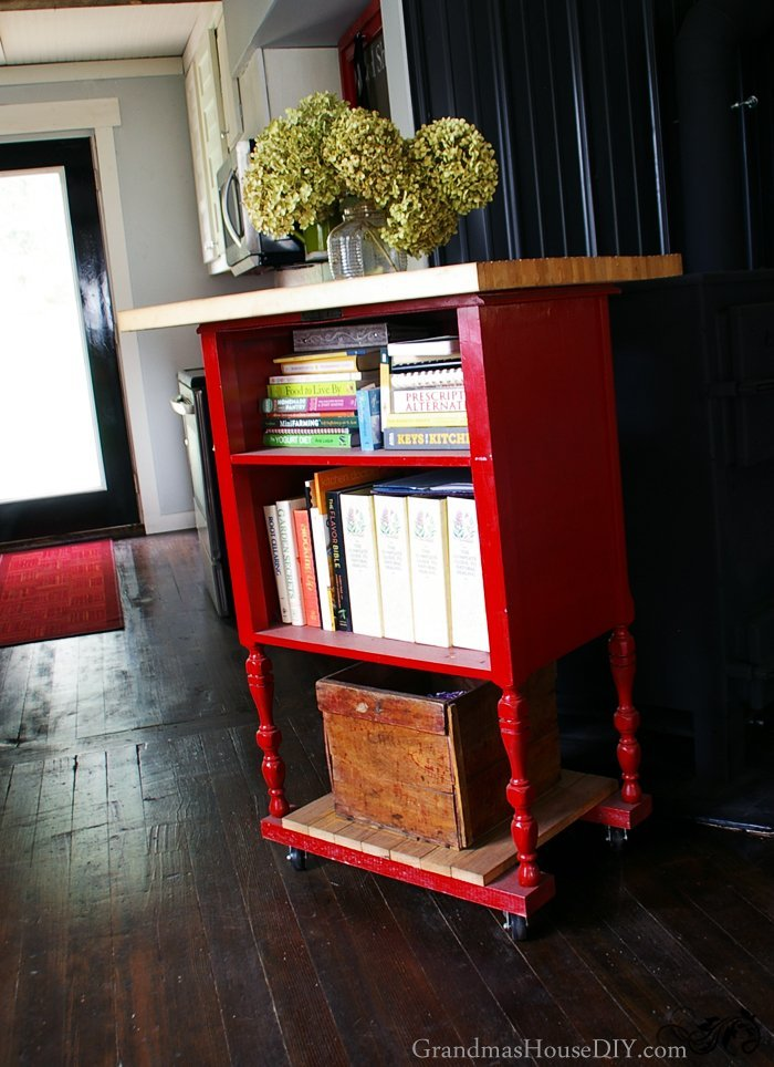 kitchen-book-storage-radio-stand-red-island