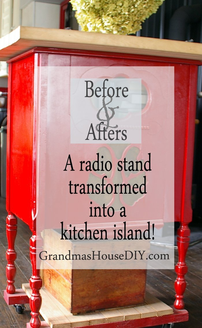 A radio stand transformed into a red kitchen island with rustoleum spray paint, diy, do it yourself, before and after, furniture, diy, island on castors