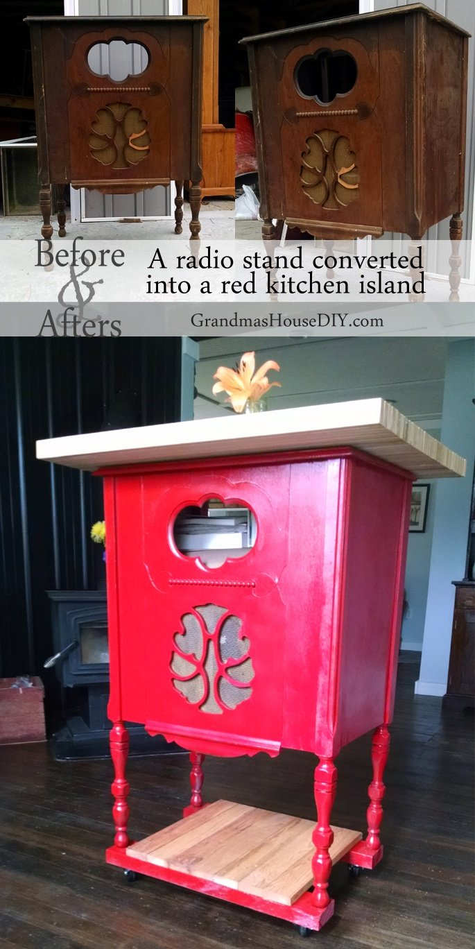 DIY red Kitchen Island made from an old radio stand @GrandmasHousDIY