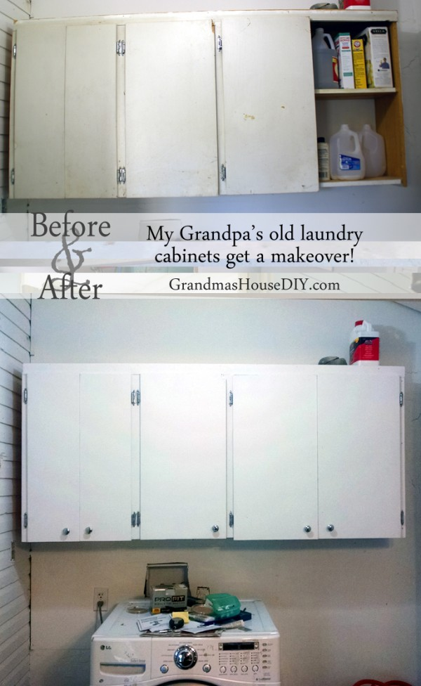 Paint and add new hardware to give cabinets a face lift in a laundry room for extra storage.
