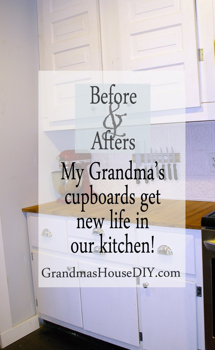 Recycling Upcycling my Grandma's old cupboards with new hardware and paint before and after in our white country kitchen cabinets, wood working, diy, do it yourself