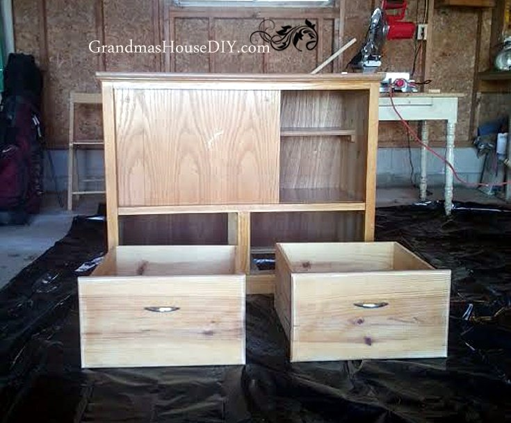 An old cabinet gets converted into an entertainment center d73fa405c