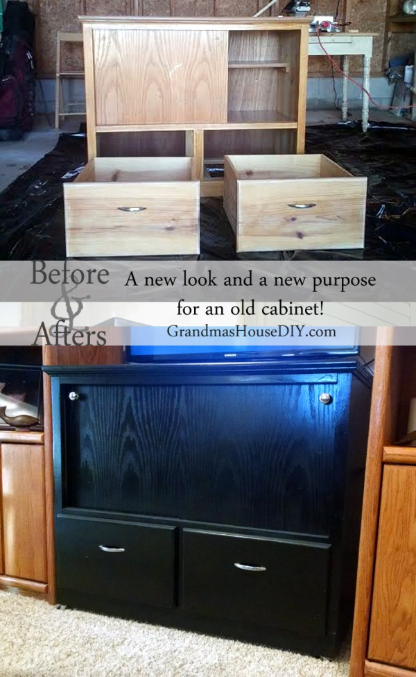 An old cabinet made by my grandparents becomes a beautiful, black entertainment center for my mom! @GrandmasHousDIY