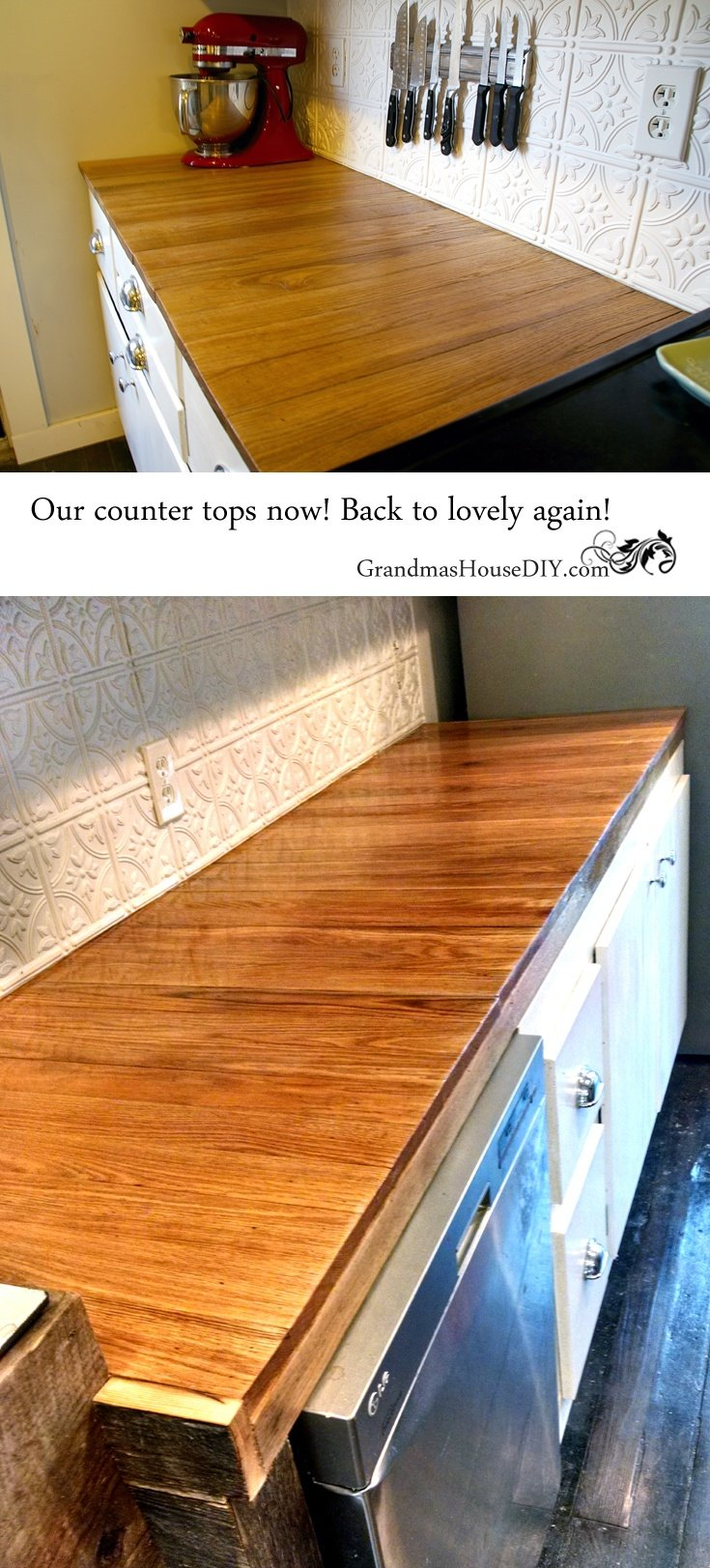 The horror story about our oak kitchen counter tops, how they warped and split and how I fixed them! @GrandmasHousDIY