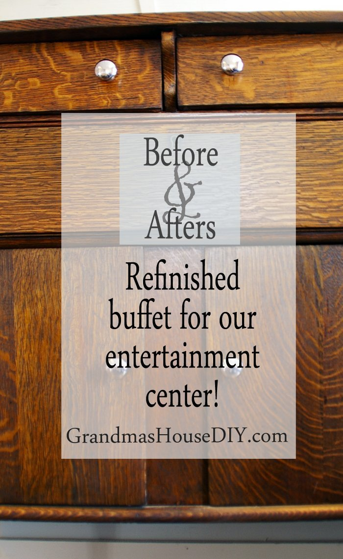 Refinished buffet claw foot feet mirror back entertainment center stripped, sanded, stained and sealed, dark wood stain, wood working, diy, do it yourself, new chrome hardware
