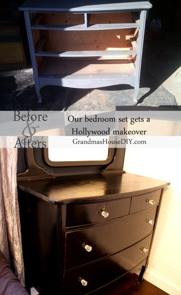 Hollywood dresser. With black paint, glass knobs and some elbow grease and old mirror topped dresser with beautiful curves becomes an absolute stunner!