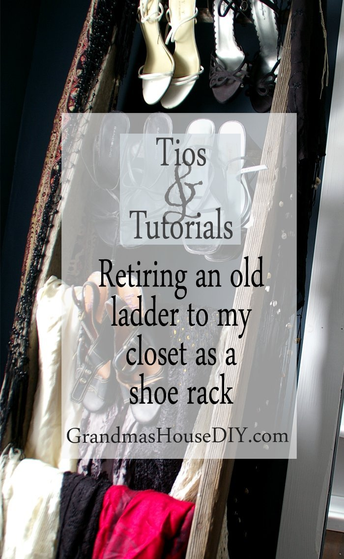 Old antique wood ladder wooden working show rack in our master bedroom for high heals how to diy do it yourself upcycling recycling
