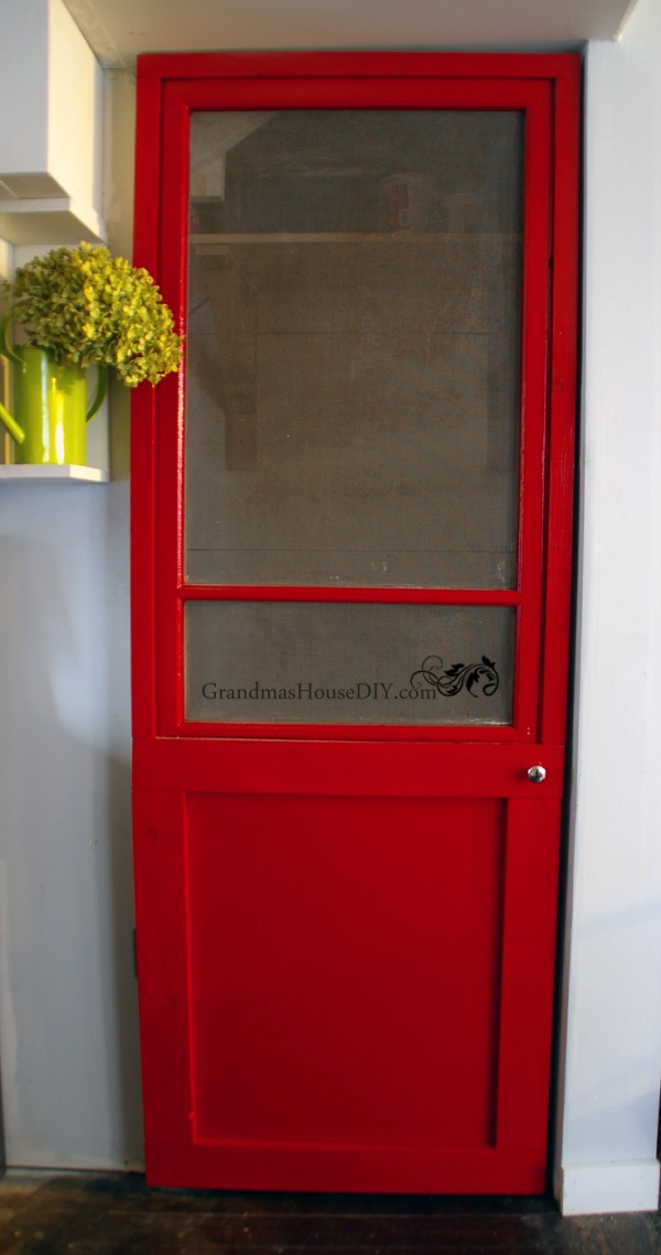 How to build a red screen door out an old window @GrandmasHousDIY