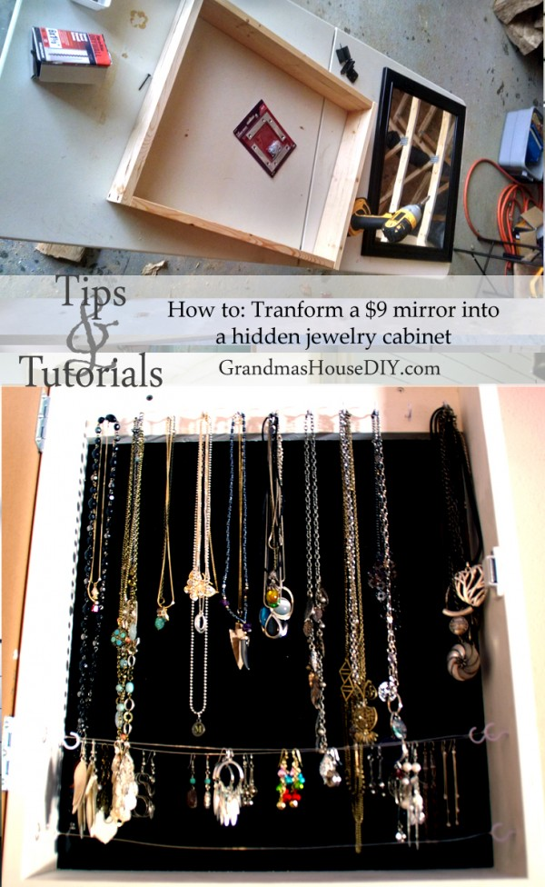 How to build a hidden jewelry cabinet out of a $9 walmart mirror