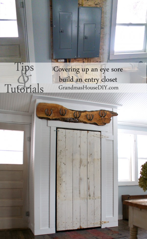 How to DIY Build a rustic closet with an old barn door and coat rack
