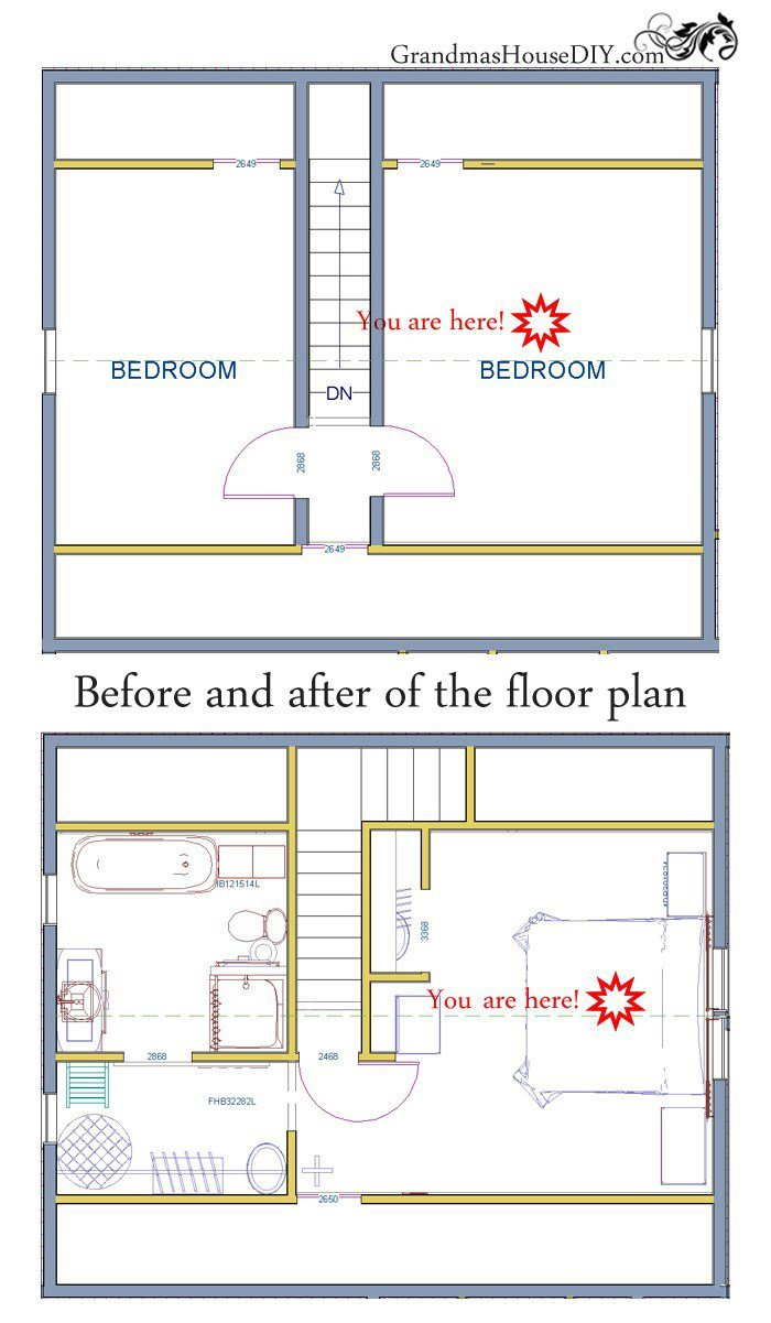 before and after a renovation of a one hundred year old northern Minnesota farm house floor plan