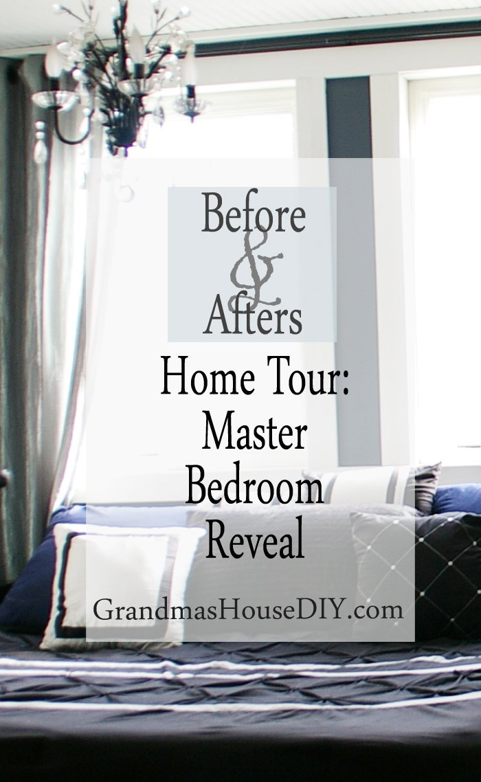 Home tour master bedroom reveal hollywood glam black navy glass knobs moody dreamy suite