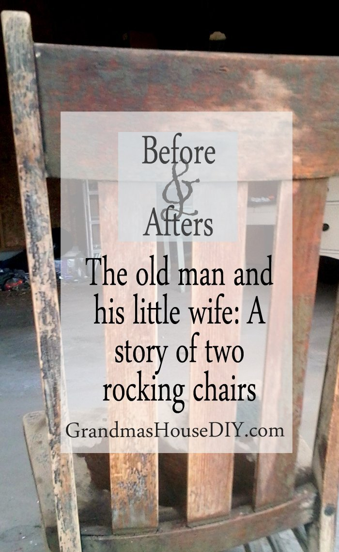 Two rocking chairs refinished and stained to match before and afters stripping stain stripped chair makeover do it yourself diy