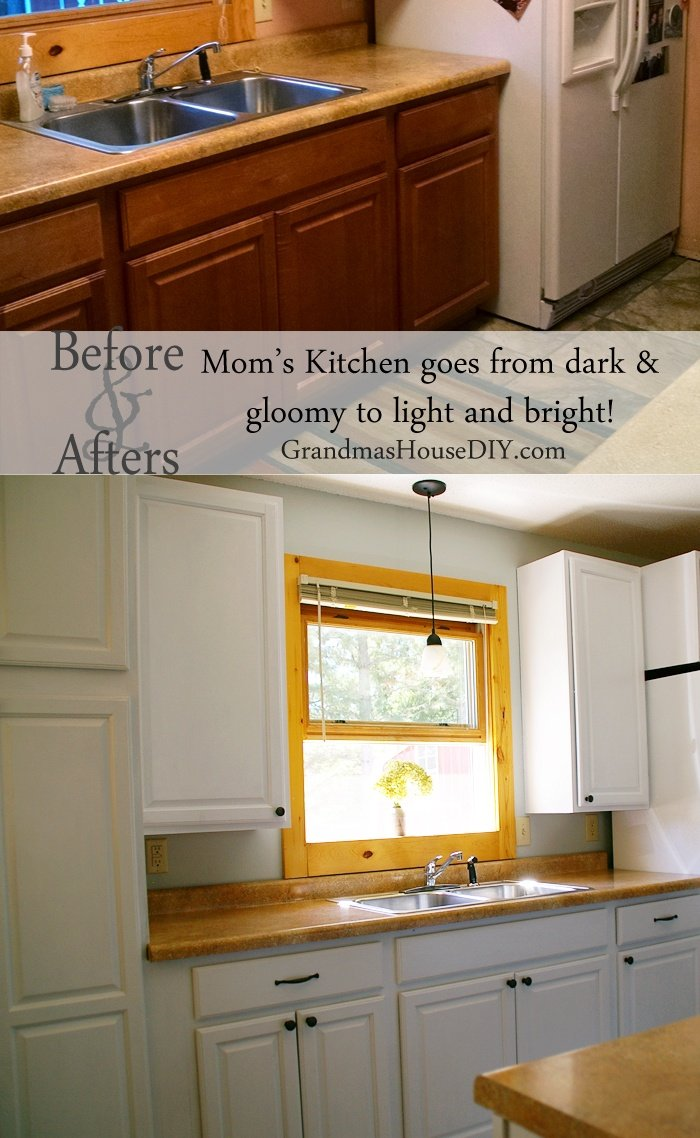 Taking my mom's kitchen from dark and gloomy to light and airy by painting her kitchen cabinets white, her walls blue and adding new hardware. DIY kitchen.