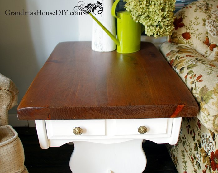 Before and after old end tables get a DIY country makeover with white paint and refinished tops