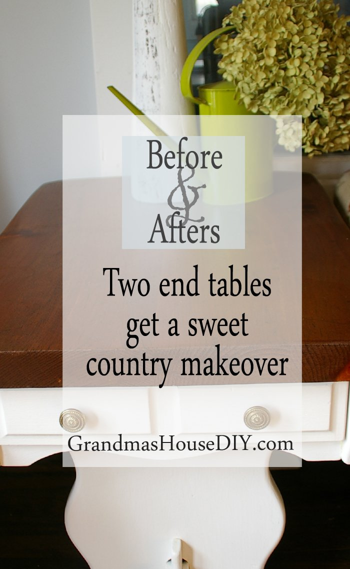 Two end table get a sweet country makeover white paint painted furniture stain stripping sanding finishing refinished diy do it yourself wood working