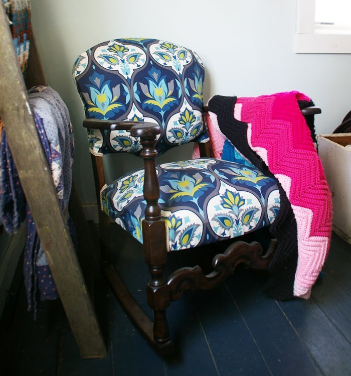 Inspiration board at Grandma's House DIY of stunning rocking chairs makeovers using gorgeous paint, stain, refinish and amazing fabric before and afters