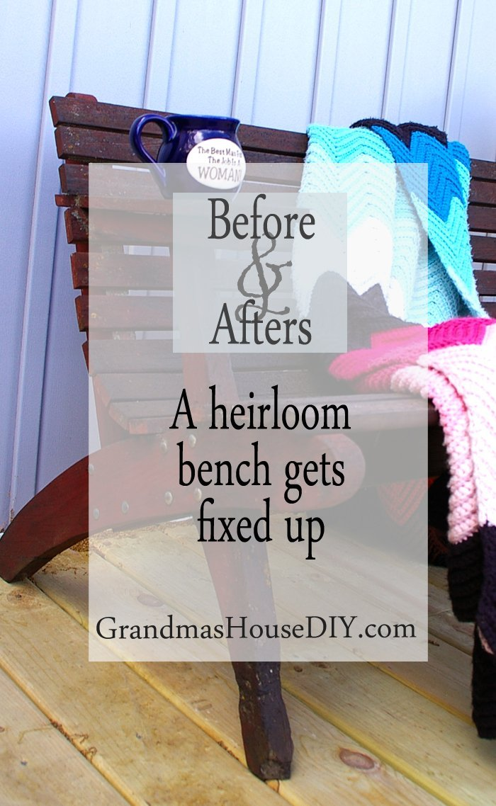 An heirloom bench made by my grandparents wood working gets fixed and stained painted furniture diy do it yourself
