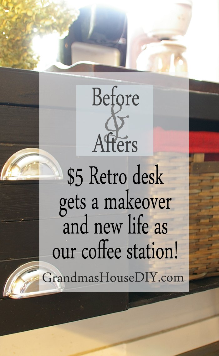 A $5 retro desk gets a makeover before and after painted furniture new life as a coffee station in our kitchen black paint new chrome hardware and a wicker basket diy do it yourself