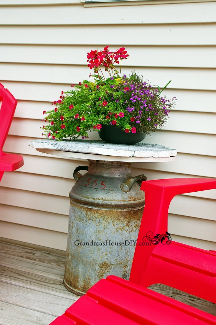 Tutorial on how to convert an old milk can into an outdoor end table for your back yard or deck, diy, wood working, tips, tutorials