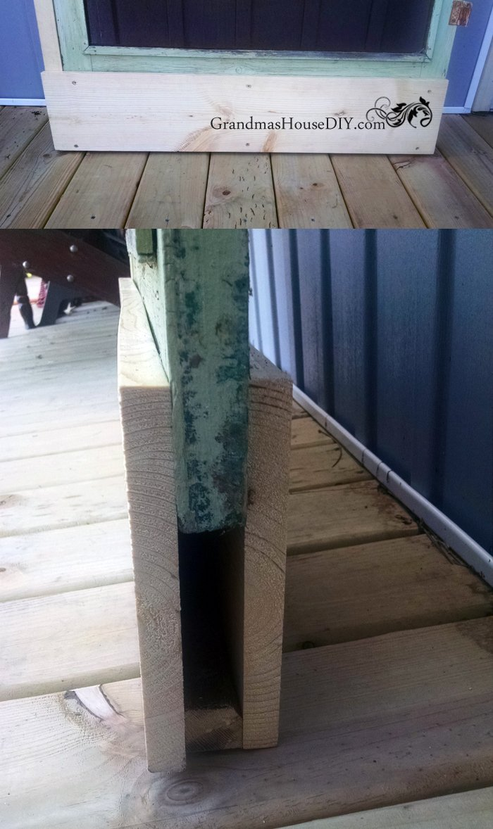 Modifying an old green screen door to fit over a new glass exterior door on my  deck and painting it with red outdoor paint, diy, remodeling, installing