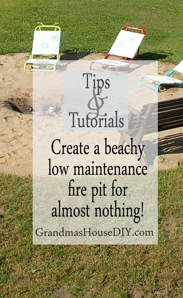 Create a beachy out door bon fire pit in your back yard for almost nothing cheap easy diy do it yourself landscaping